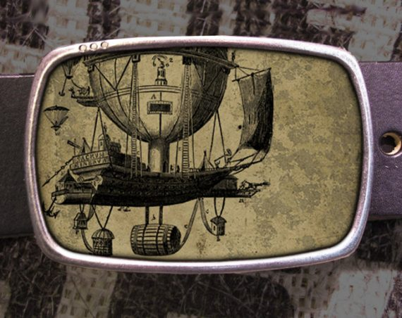 Balloon Steampunk Belt Buckle, Vintage Inspired, Shabby Chic 537