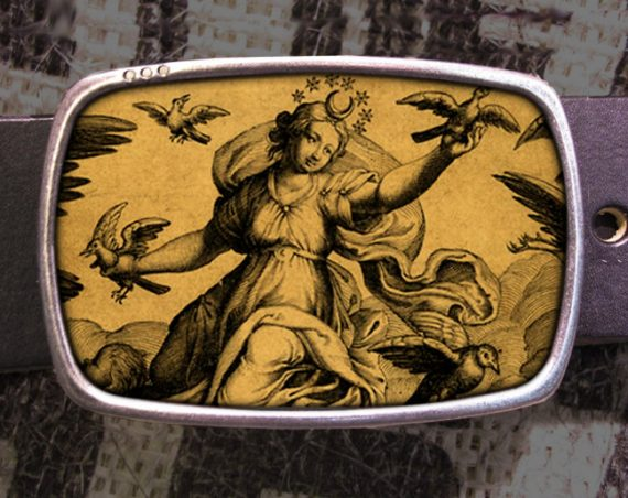 Bird Goddess Belt Buckle, Vintage Inspired, Shabby Chic 562