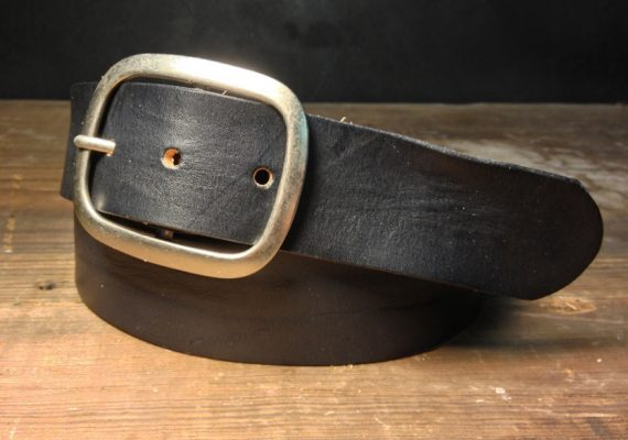Black Leather snap belt -   - B100  Handmade in USA