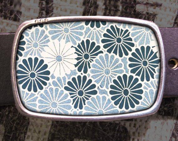 Blue Flower Pattern Belt Buckle, Vintage Inspired 544
