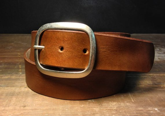 Brown Leather belt - B100  Handmade in USA