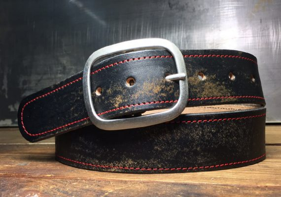 Distressed Leather Belt, Red Stitched, Vintage Aged - Snap Belt - Handmade in USA
