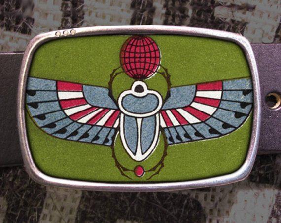 Egyptian Scarab Beetle Vintage Print Belt Buckle 781
