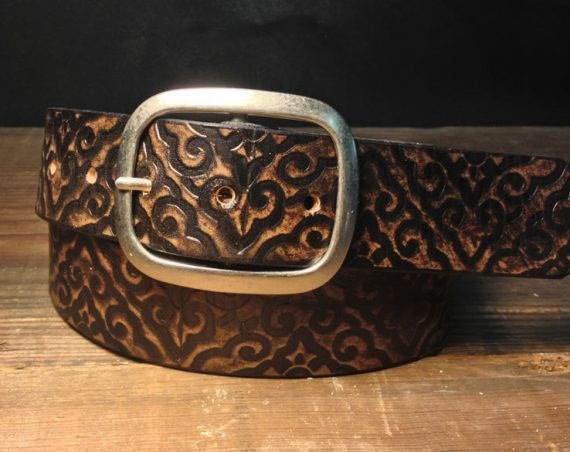Embossed Leather Belt, Damask Pattern Belt in Vintage Aged Leather, Snap Belt  Handmade in USA