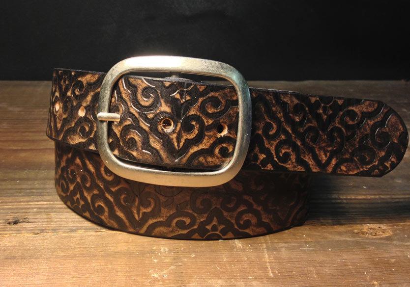 Damask Pattern Embossed Leather Belt Regan Flegan
