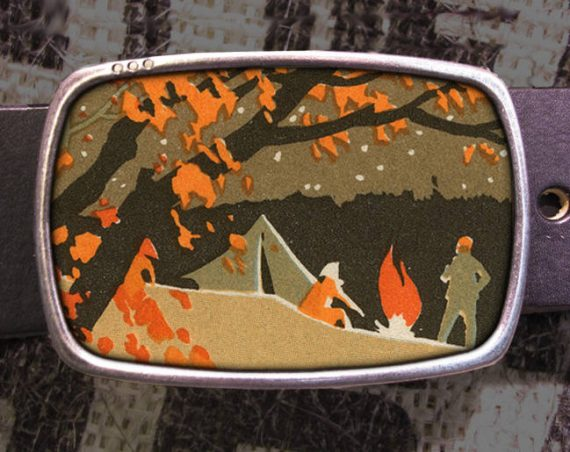 Fall Campfire Vintage Screen Print Belt Buckle 780
