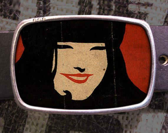 Happy Girl Belt Buckle, Smile Belt Buckle 557