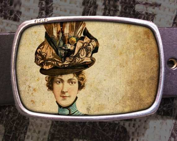 Hat Lady Belt Buckle, Vintage Inspired Buckle 565