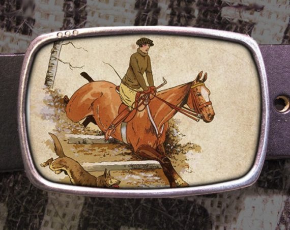 Horse Jumping Belt Buckle 703