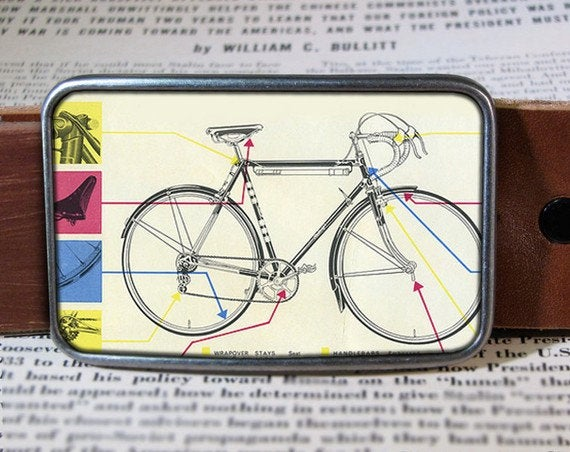 Bike Belt Buckle  Diagram Buckle  Retro Cool 527  Gift For