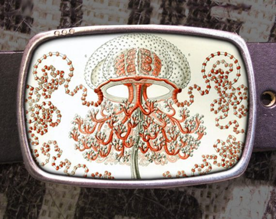 Jellyfish Belt Buckle, Ocean Buckle, Vintage Inspired 519