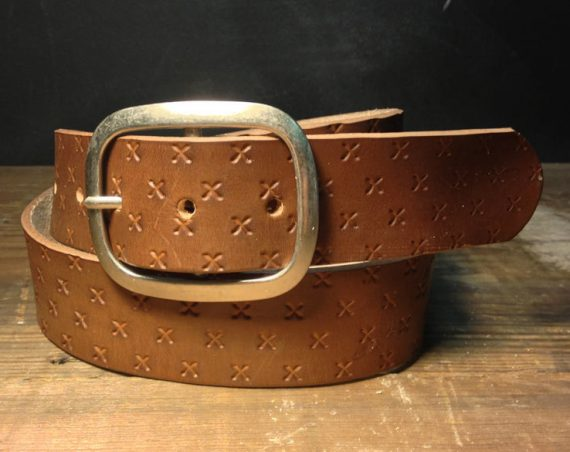 Leather belt - Small X Embossed Leather belt - embossed X snap belt  Handmade in USA