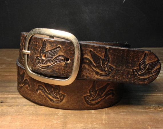 Leather belt - Sparrow Vintage Aged Leather belt - embossed sparrow snap belt  Handmade in USA