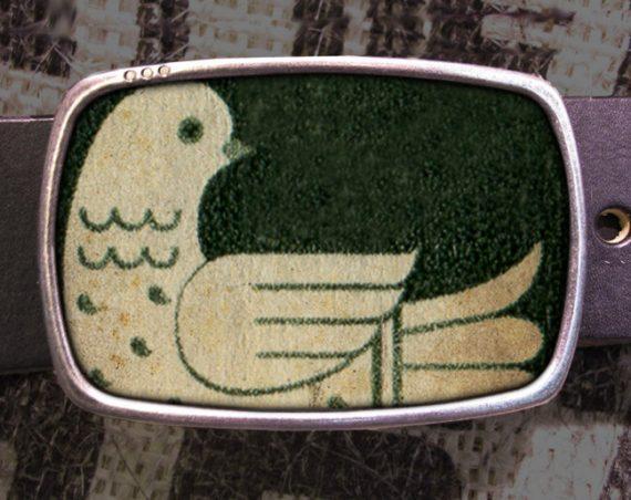 Look Bird Belt Buckle, Peace Buckle Vintage Inspired 531