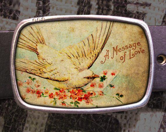 Love Bird Belt Buckle, Message Belt Buckle 701