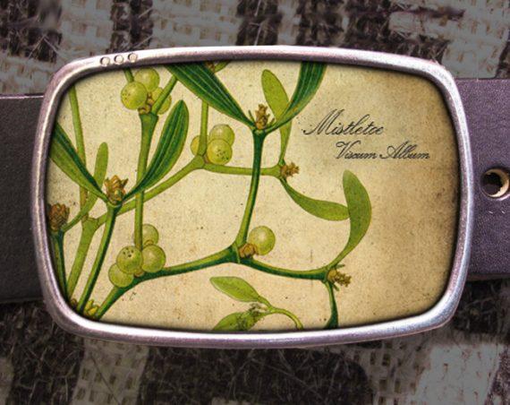 Mistletoe Belt Buckle, Christmas Buckle 603