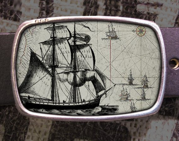 Nautical Collage Belt Buckle, Ship Buckle, Shabby Chic 568
