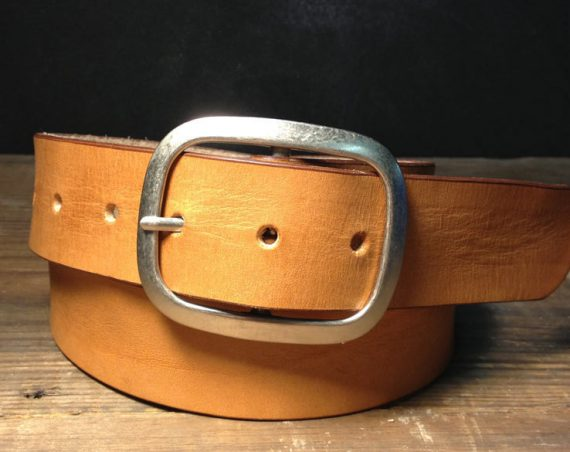 Nude Tan Leather belt -    Handmade in USA