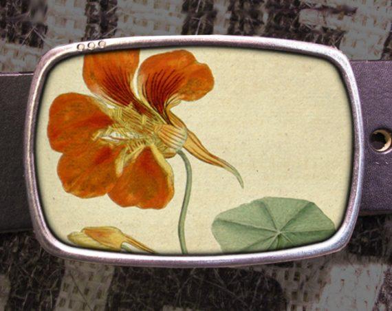 Orange Flowers Belt Buckle, Vintage Inspired, Shabby Chic 542