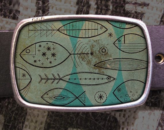 Retro Fish Belt Buckle, Fins Buckle, Wave Belt Buckle 707