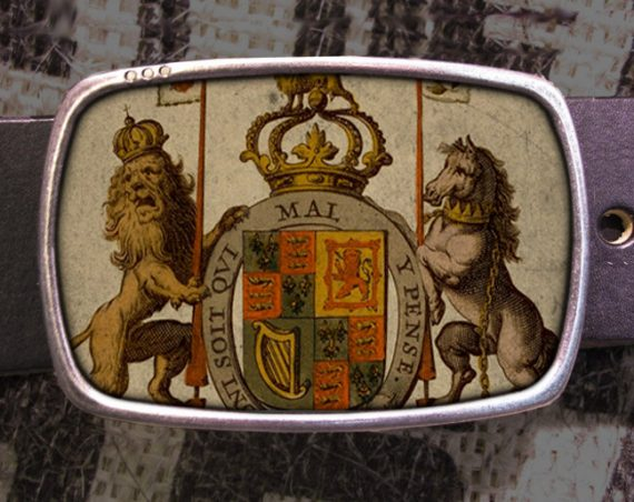 Royal Crest Belt Buckle, Lion Crest Vintage Inspired Buckle 623