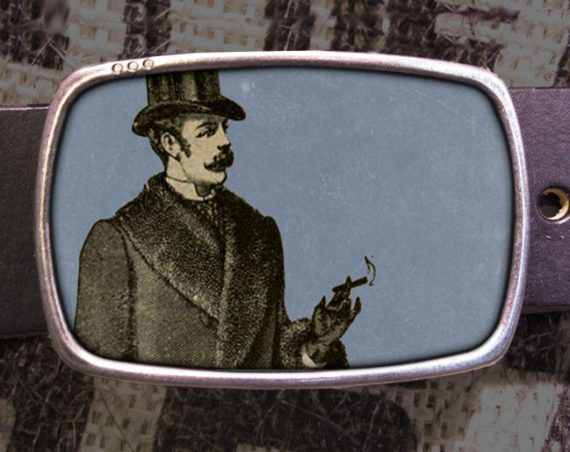 Smoking Gentleman Belt Buckle, Vintage Inspired 559