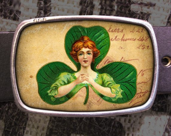 St. Patrick's Day Belt Buckle Shamrock Lady Luck Vintage Inspired A03