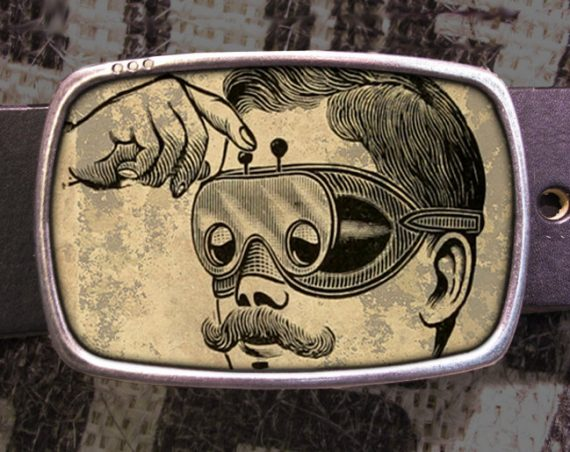 Steampunk Glasses Belt Buckle, Vintage Inspired, 564