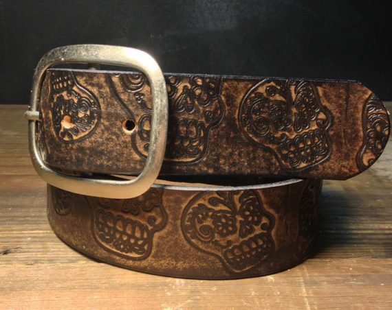 Sugar Skull Vintage Distressed Aged Leather Belt  Handmade in USA