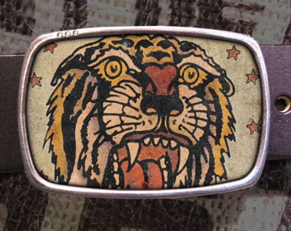 Tiger Tattoo Belt Buckle, Vintage inspired 515