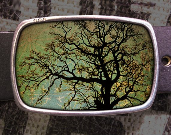 Tree Portrait Belt Buckle, Vintage Inspired- 600