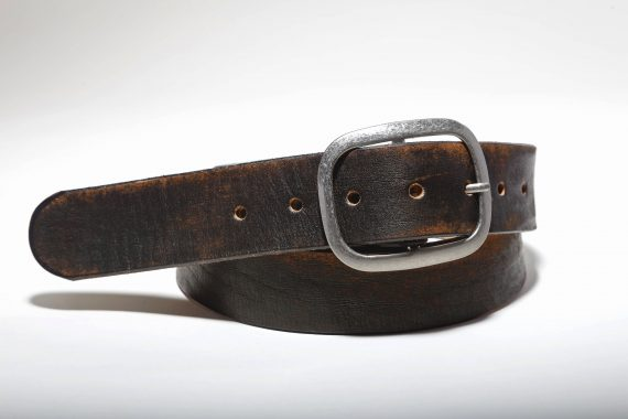 Vintage Aged Leather Belt - Distressed Black Brown Genuine Leather Snap Belt, Brass or Silver Buckle  Handmade in USA, Retro, Unisex