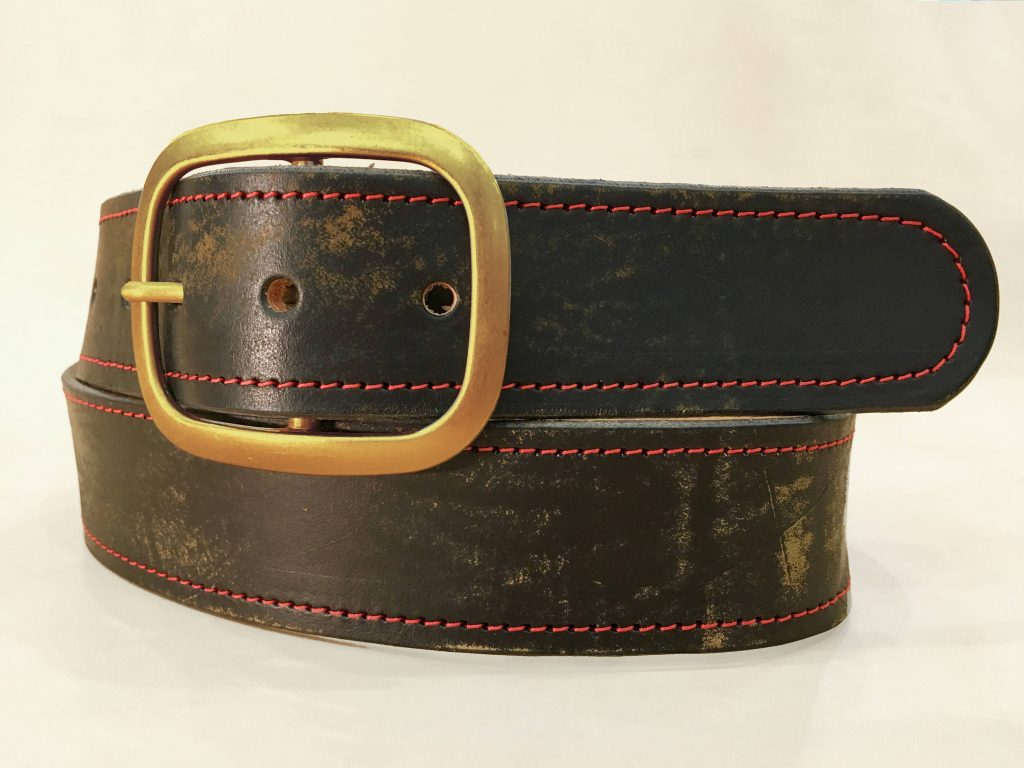 Vintage Aged Red Stitched Leather Belt With Antique Brass