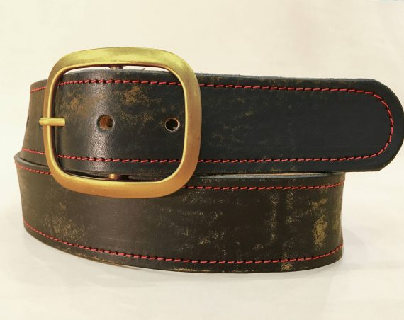 Vintage Aged Red Stitched Leather Belt  with Antique Brass Buckle  Handmade in USA