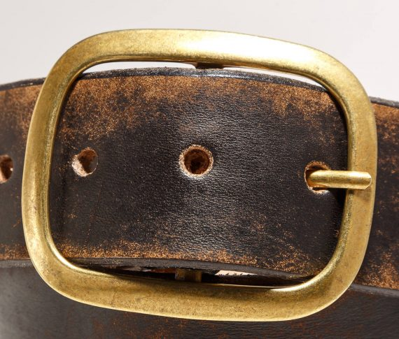 Vintage Distressed Leather Snap Belt, Brass Buckle -  Handmade in USA
