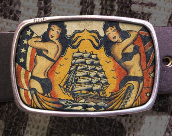 Vintage Ship Tattoo Belt Buckle, Vintage Inspired 570
