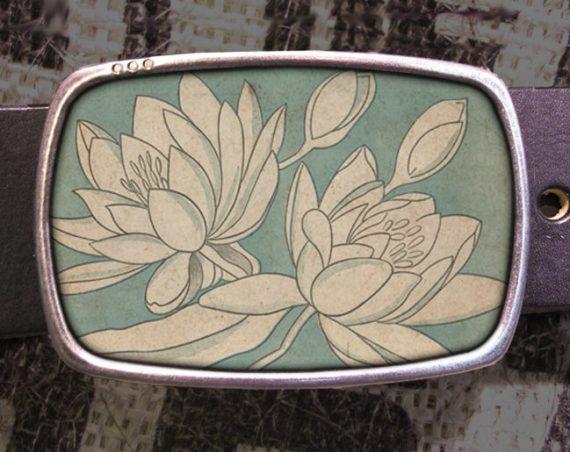 White Flowers Belt Buckle, Nature Belt Buckle 730